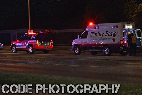 ambulance on street at night