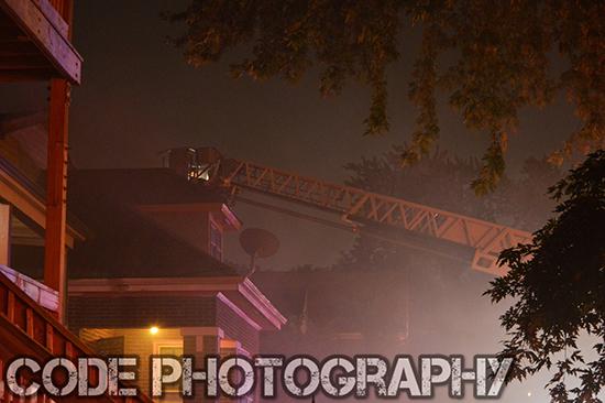 ladder and smoke at night