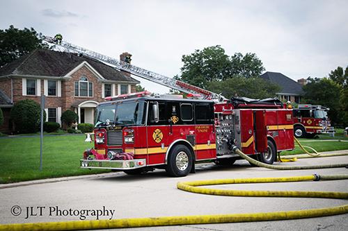 Seagrave fire engine at fire scene