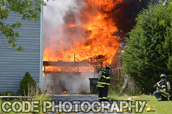 heavy fire from residential garage
