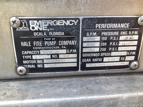 E-ONE fire truck law tag