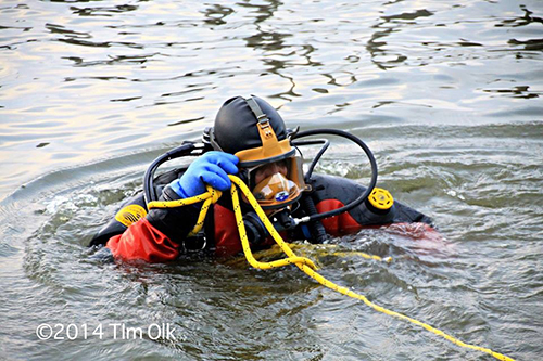fire department diver in the water