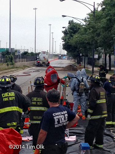 Chicago Fire Department hazardous materials team working at a chemical spill