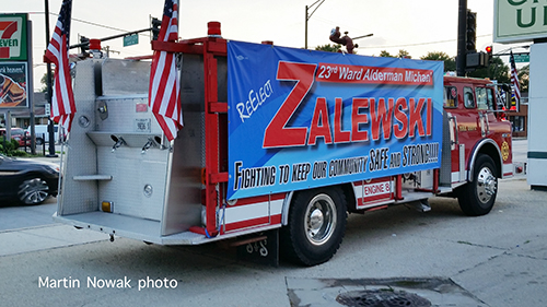 old fire truck used for campaign