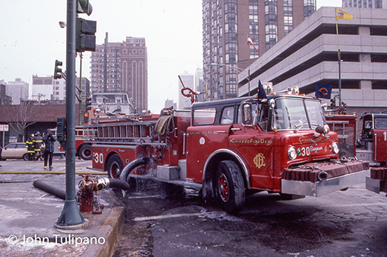 vintage Chicago fire scene photo