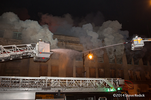 huge commercial fire in Chicago at night