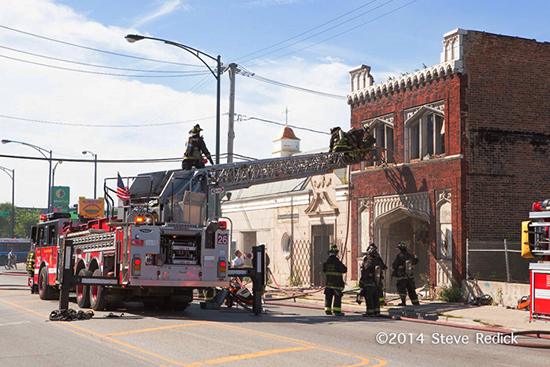CHicago aerial ladder truck at fire scene
