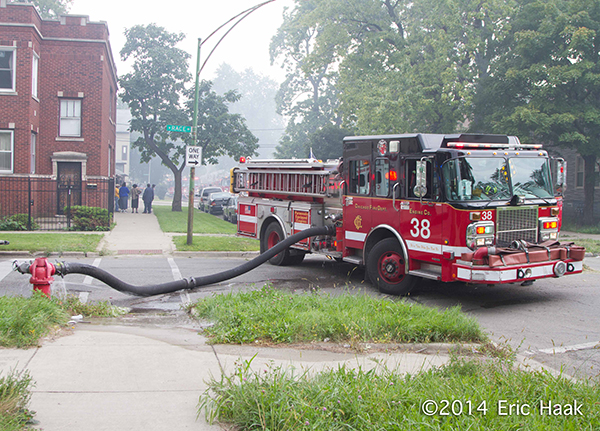 Chicago FD fire engine pumping at a fire