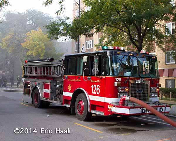Chicago fire engine at afire scene