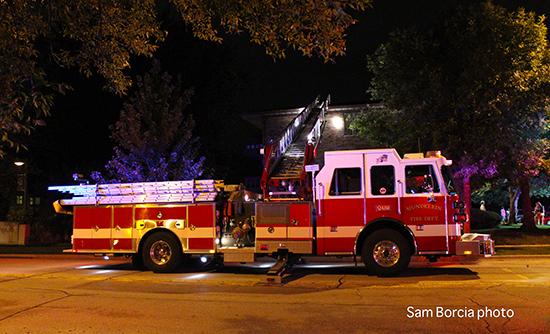 fire scene at night