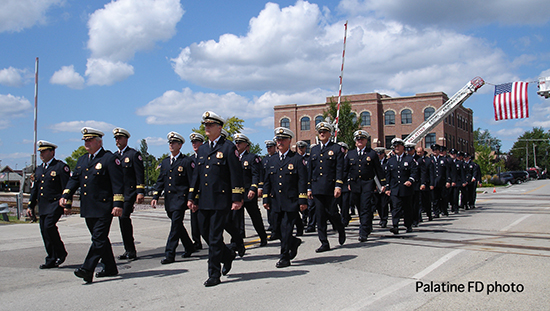 firefighters marching at memorial service