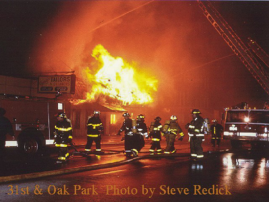 1980s night fire scene near Chicago