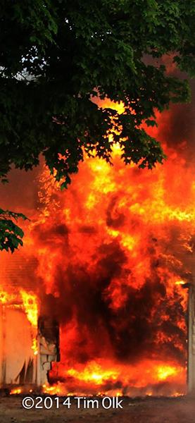 barn fully engulfed in fire