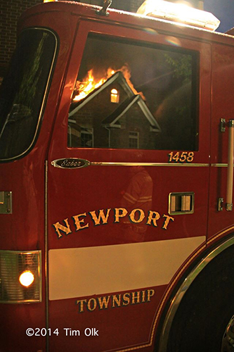 fire reflection in fire engine window