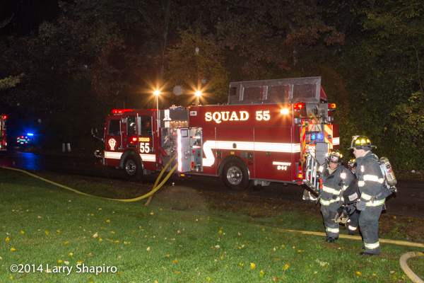 KME fire engine at night fire scene