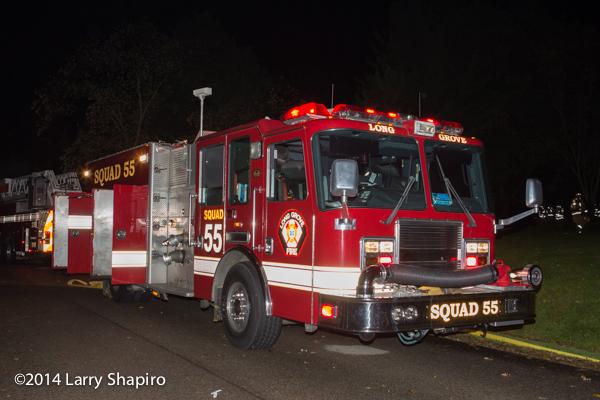 KME fire engine at night fire scene
