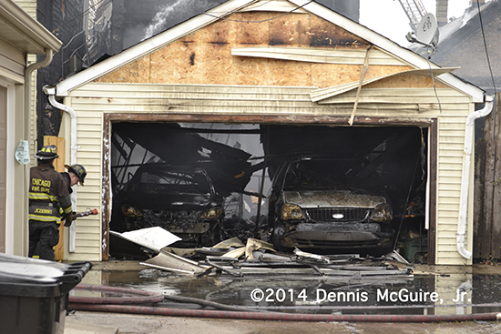 alley garages after a fire