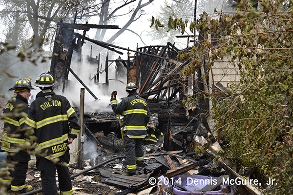 firemen overhaul house fire