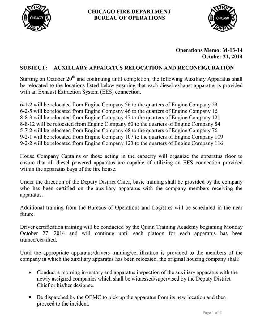 Chicago Fire Department Operational Memo