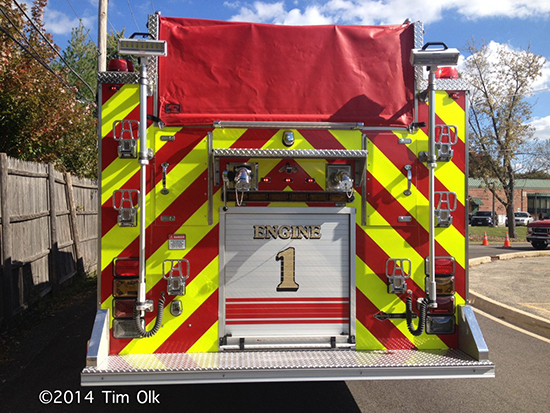 back of fire engine with chevron striping