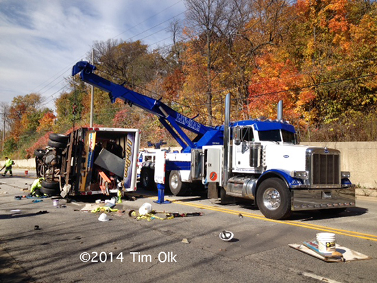 rotator heavy wrecker at crash site