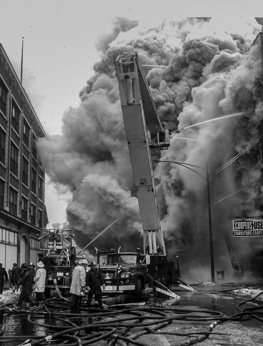 vintage Chicago fire scene circa 1959