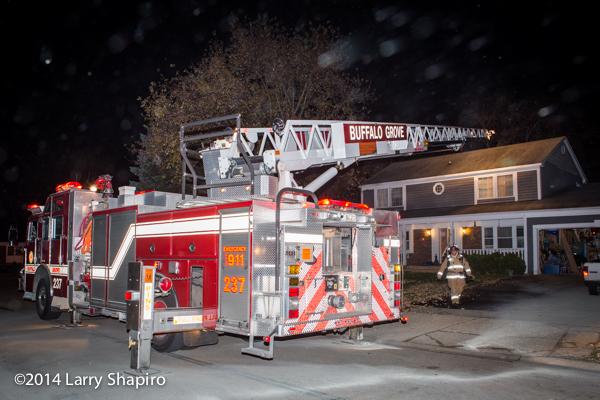 KME quint at night fire scene