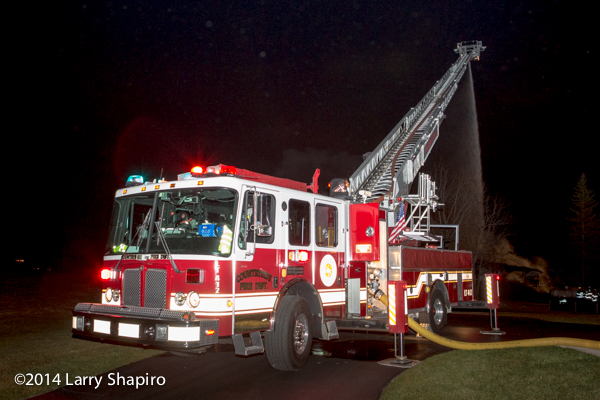 HME Rosenbauer Raptor aerial at night fire scene