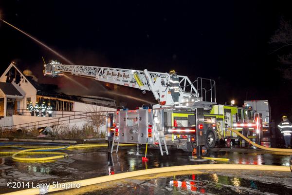 Fox Lake FD Nova Quintech SkyArm at night fire scene