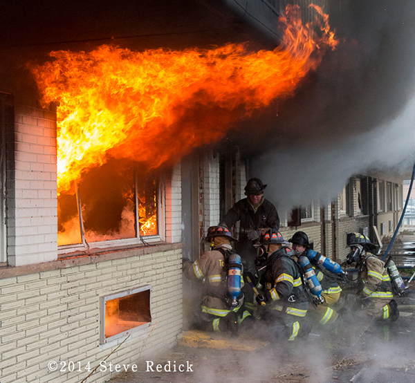 firemen training with live-fire