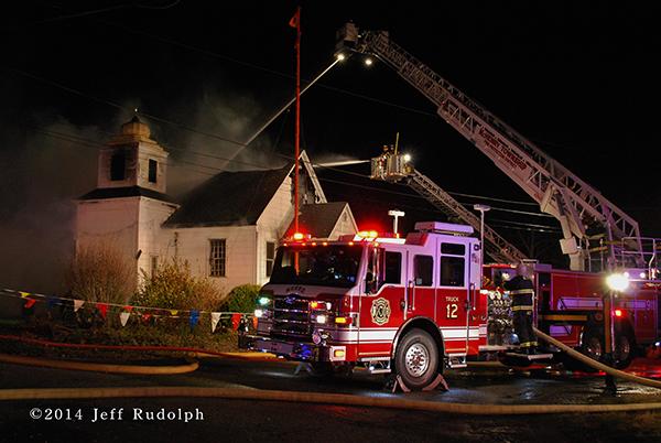 pierce tower ladder at fire scene