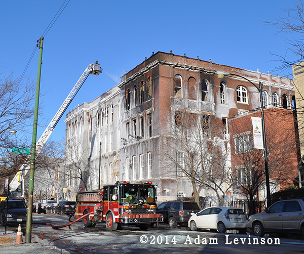 winter ruins from major building fire