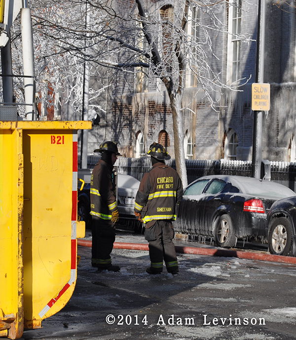 firemen at winter fire sene