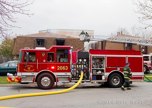 Seagrave fire engine at fire sene