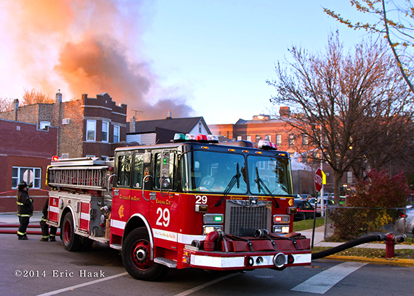 Chicago FD Engine 29 at a fire scene