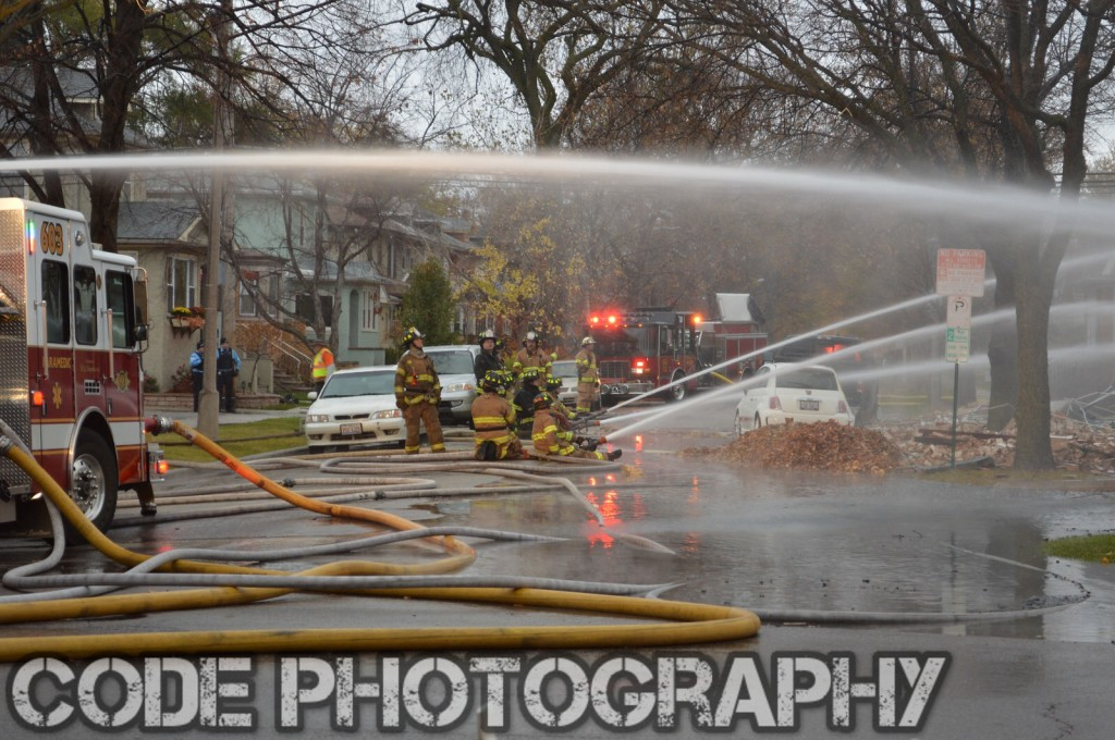 multiple hose lines at fire scene