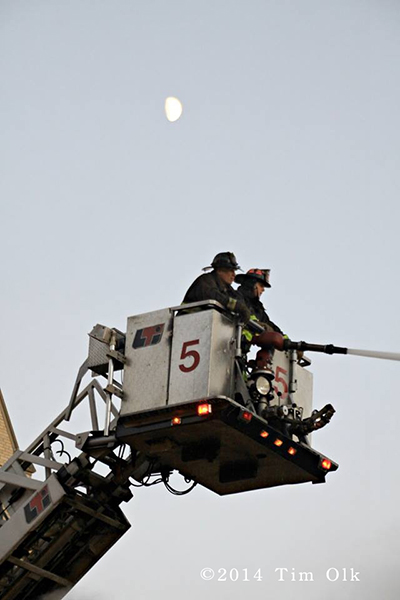 Tower ladder working at Chicago fire scene