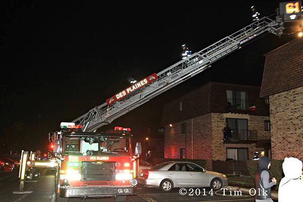 fire truck t night fire scene