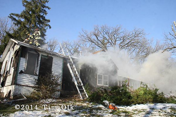 firemen training at house fire