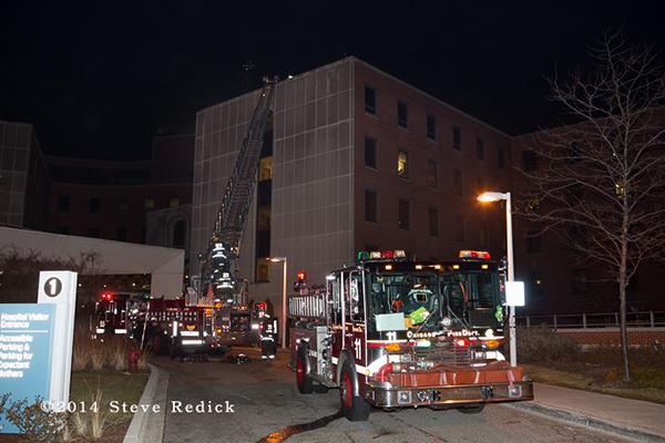 Chicago fire trucks at night