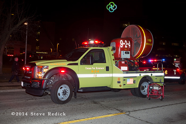 Chicago fire truck at night