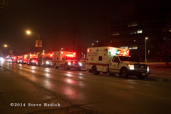 Chicago FD ambulances at night