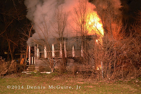 fully engulfed house fire at night
