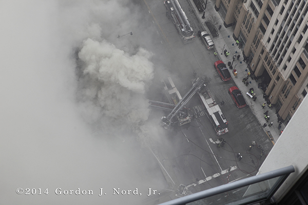 fire scene photo with heavy smoke from above