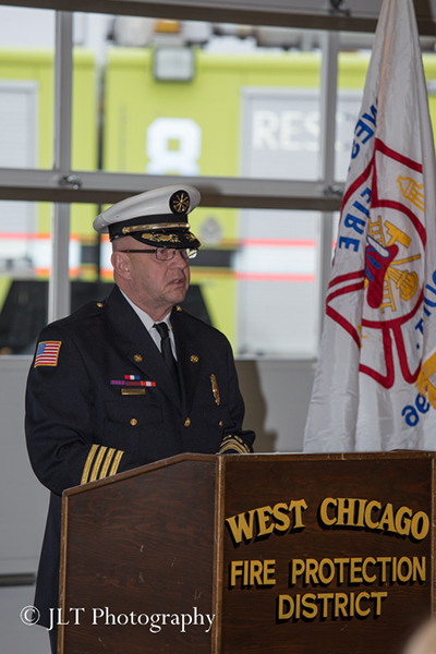fire chief at podium