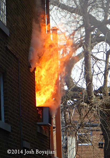 flames shooting from window