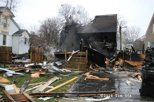 gas explosion destroys house