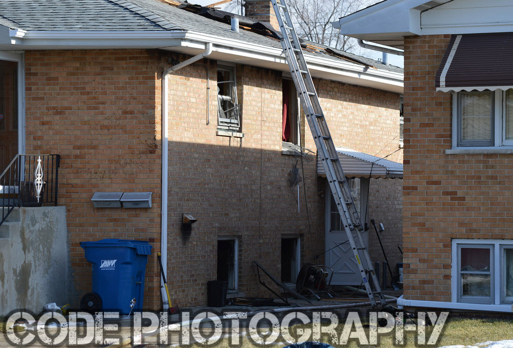 ladder against house after fire