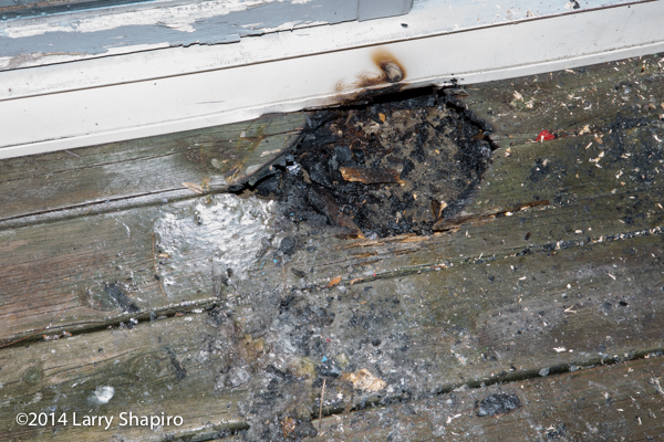 fire on wooden deck