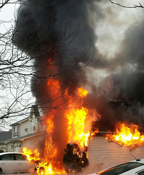 huge flames from house fire